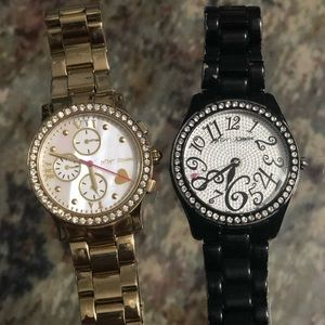 Lot of Betsy Johnson metal link watches